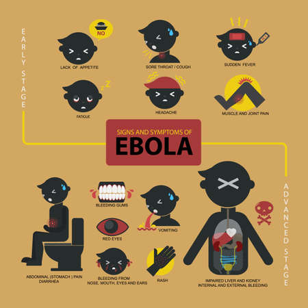 Flat style vector of Ebola signs and symptoms.