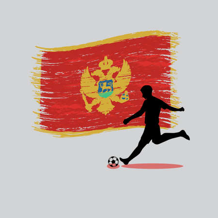 Soccer Player action with Montenegro flag on background vector Vector