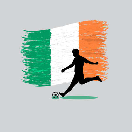 republic of ireland: Soccer Player action with Republic of Ireland flag on background vector
