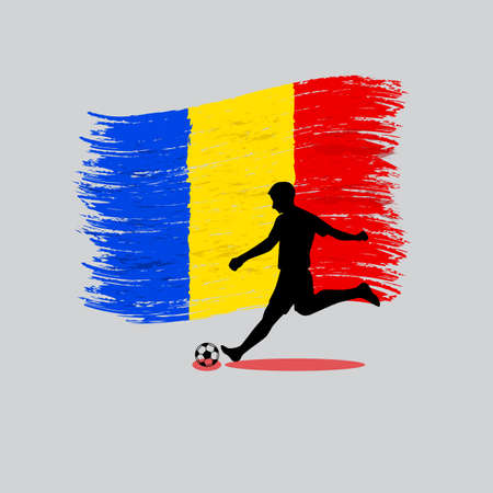 Soccer Player action with Romania flag on background vector
