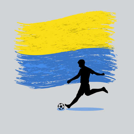 Soccer Player action with Ukraine  flag on background vector