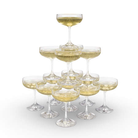 Stack of champagne glasses with clipping path photo