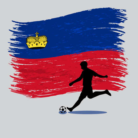 Soccer Player action with Principality of Liechtenstein  flag on background vector