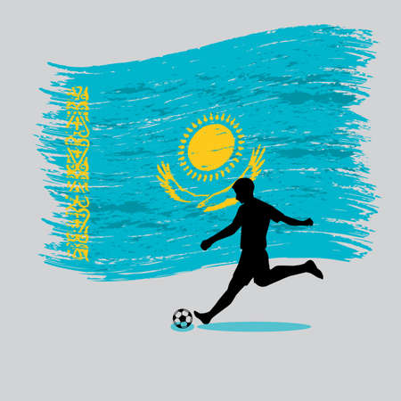 landlocked country: Soccer Player action with Republic of Kazakhstan flag on background vector Illustration