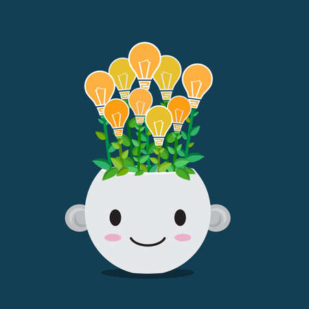 Flat style vector of Lightbulb plant in smiley pot. Cute cartoon for business concept like good idea,  innovation or growing.