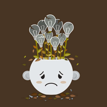 bad idea: Flat style of broken Light bulb plant in sadly pot with Cute cartoon