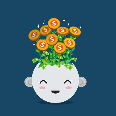 Flat style  vector of money plant in smiley pot. Cute  cartoon for  banking , financial or growth of business concept