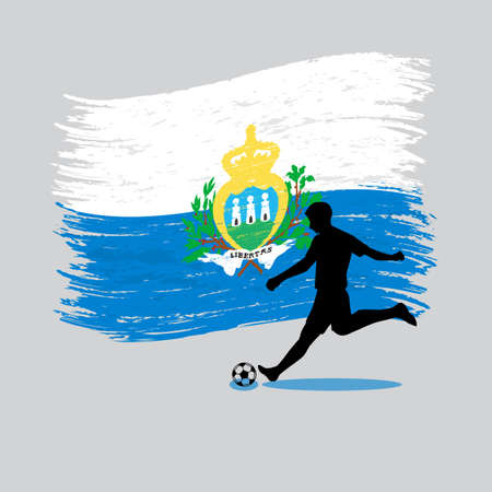 marino: Soccer Player action with Republic of San Marino flag on backgroundvector