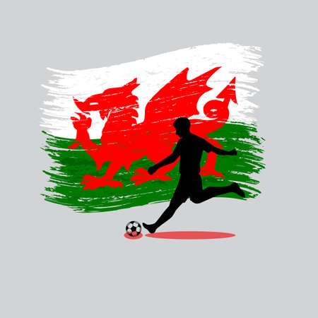 wales: Soccer Player action with Wales flag on background vector