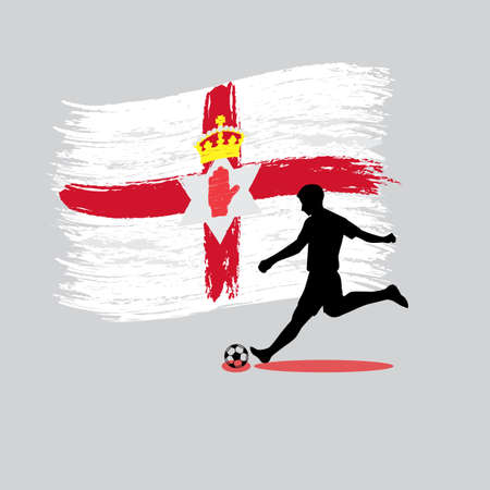 Soccer Player action with Northern Ireland flag on background vector