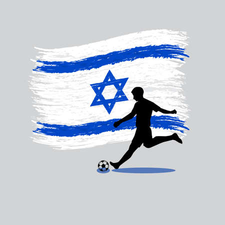 flag of israel: Soccer Player action with State of Israel flag on background vector