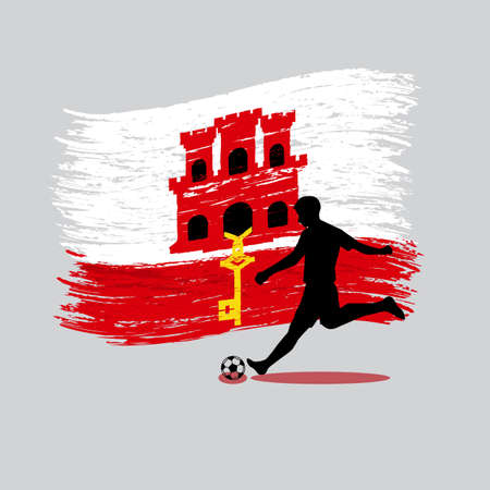 gibraltar: Soccer Player action with Gibraltar flag on background vector Illustration