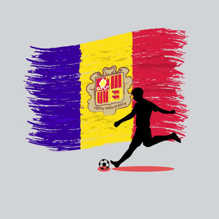 Soccer Player action with Principality of Andorra flag on background vector