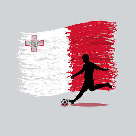 Soccer Player action with Republic of Malta flag on background vector 向量圖像