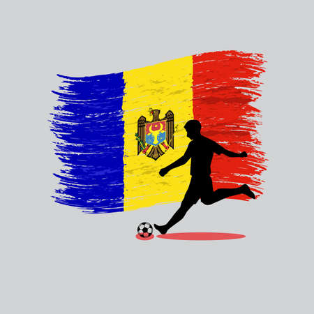 Soccer Player action with Republic of Moldova  flag on background vector