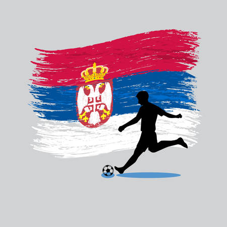 Soccer Player action with Republic of Serbia flag on background vector