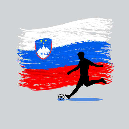 Soccer Player action with Republic of Slovenia flag on background vector