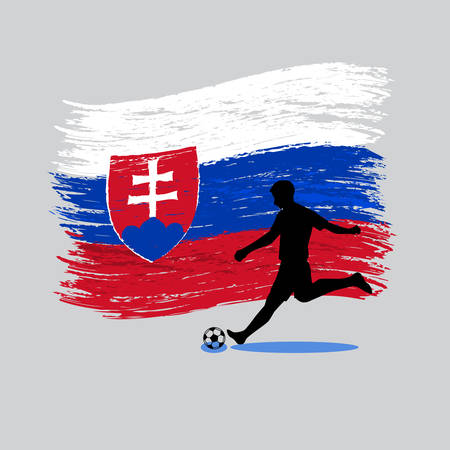 slovenia: Soccer Player action with Republic of Slovenia flag on background vector