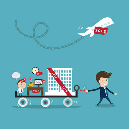 takeover: businessman  buying  another company or business. Vector cartoon for  business trading or takeover concept.