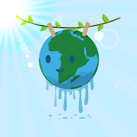 save water: Washed Earth hanging on tree branch  for drying. Vector for save the Earth concept.