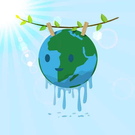 ahorrar agua: Washed Tierra colgando de la rama de árbol para el secado. Vector para salvar a la Tierra concepto.