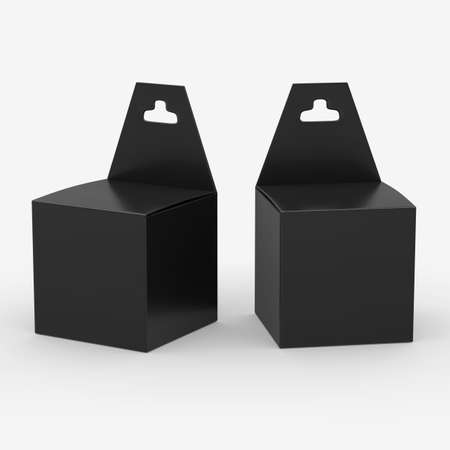 Black paper box packaging with hanger