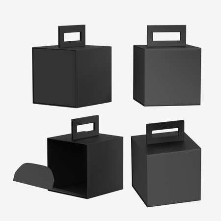 Black  paper carton box with handle 版權商用圖片