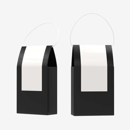 Black paper food box packaging with handle 版權商用圖片