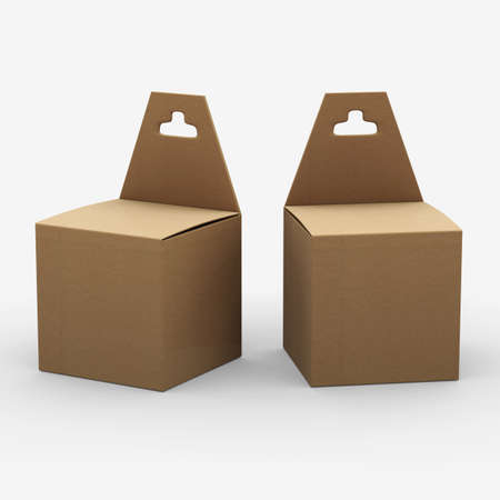 Brown paper box packaging with hanger