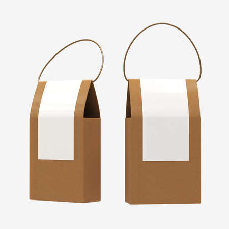 Brown paper food box packaging with handle
