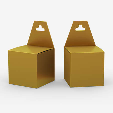 paper hanger: Gold paper box packaging with hanger Stock Photo