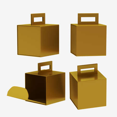 Gold paper carton box with handle
