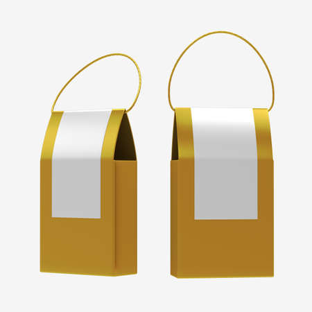 Gold paper food box packaging  Banque d'images