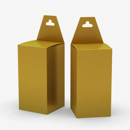 Gold rectangle paper  box packaging with hanger