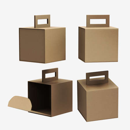 Kraft paper carton box with handle 版權商用圖片