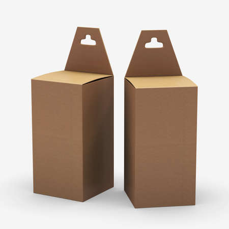paper hanger: Rectangle  kraft paper box packaging with hanger Stock Photo