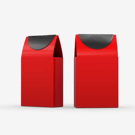 Red and black paper food box packaging