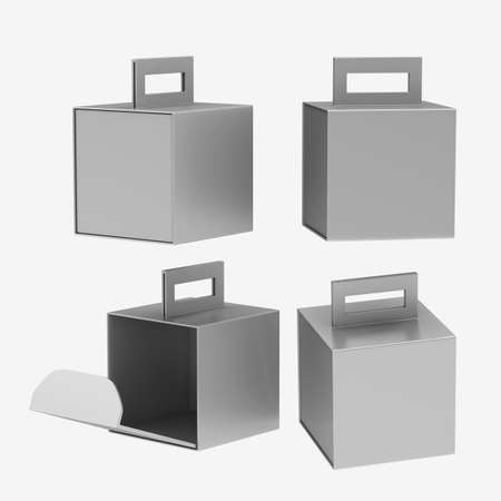 Silver paper carton box with handle, clipping path included. Template package for variety product like food, gift, softdrink or stationary. ready for Your Design and artwork . 版權商用圖片 - 34207192