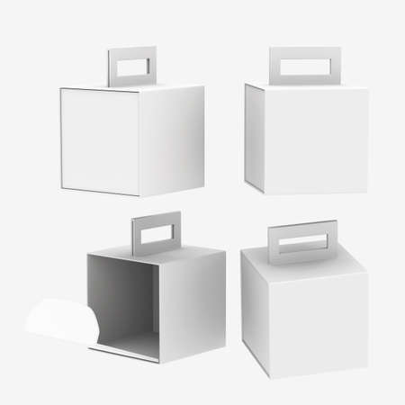 White paper carton box with handle