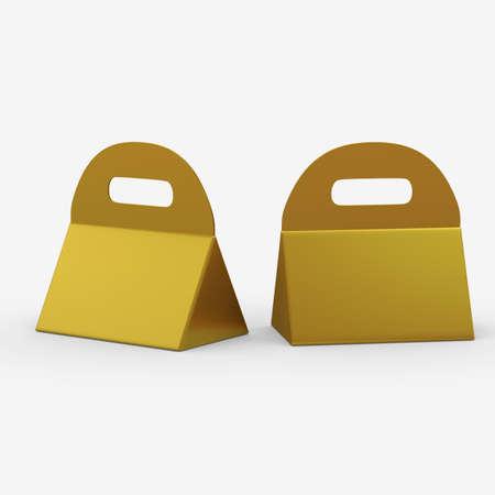 Golden triangle box with handle 版權商用圖片 - 34208680