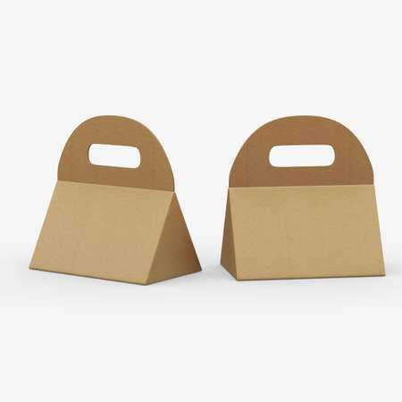 Kraft paper triangle box with handle