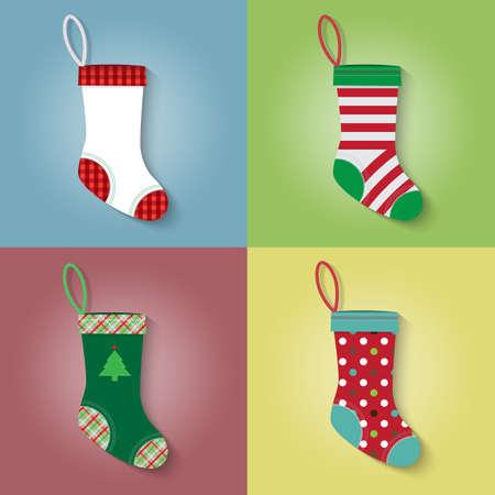 Flat style of Christmas sock vector set 向量圖像