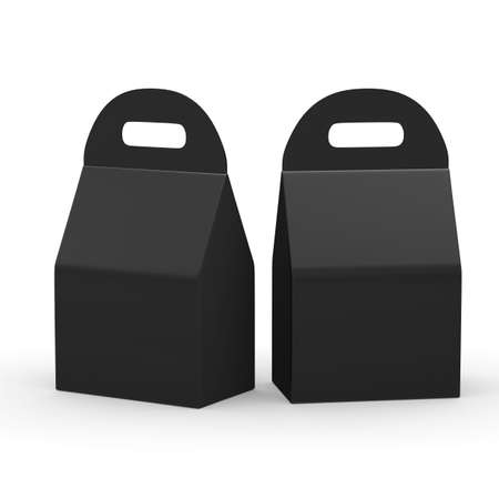 Black flat bottom  box with handle, Template package for variety product like food or gift . ready for Your Design and artwork .