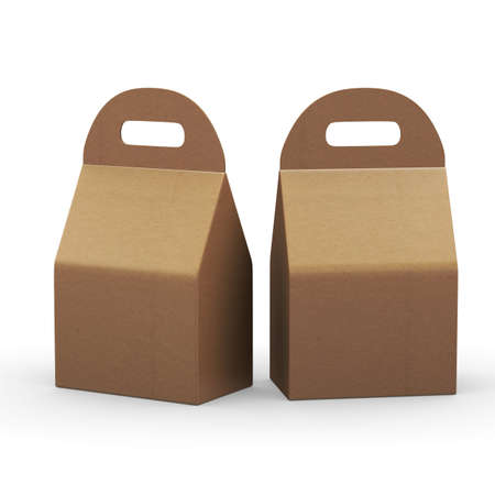 Kraft paper flat bottom  box with handle,included. Template package for variety product like food or gift . ready for Your Design and artwork .