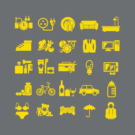 Syle plana de tienda por departamentos de iconos de vectores Ilustración de vector