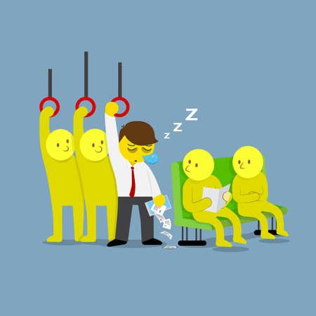 sleeping car: Businessman asleep while standing on public transport vector Illustration