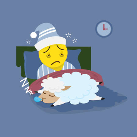 Insomnia man with sleeping sheep vector