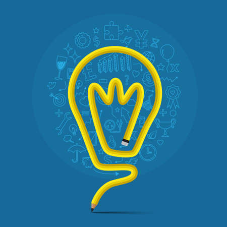 pencil bends shape to light bulb form  with icons, vector illustration for idea concept. 版權商用圖片 - 34751005