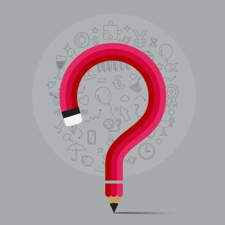 pencil bends shape to question mark form  with icons, vector illustration for preblem concept.