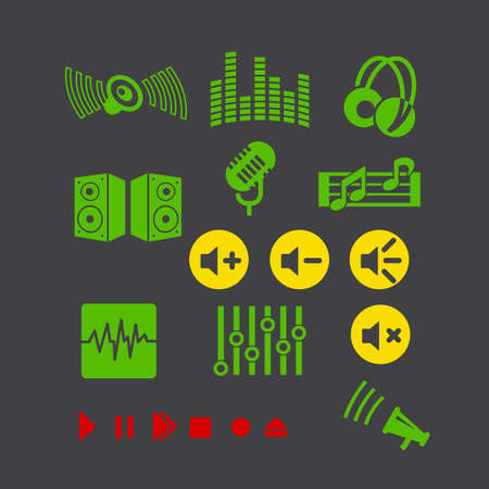 multimedia player vector icon set for web design , internet and mobile